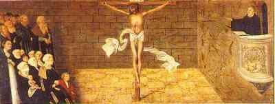 Martin Luther zeigt auf den Gekreuzigten